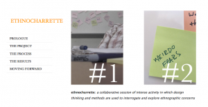 This image shows the home page of the website describing the ethnocharette process. There is a photo of a post-it note with some words jotted on it.
