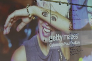 A stock image from getty images is projected on a white board, on which a list of themes and keywords are written in red and blue ink. the stock image shows a woman with short bleached blond hair smiling and covering her eyes with her arm, on which is drawn a pair of eyes and eybrows.