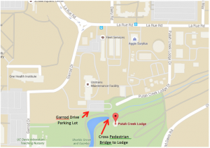 a map showing the location of Putah Creek Lodge and nearby parking lots on the UC Davis campus