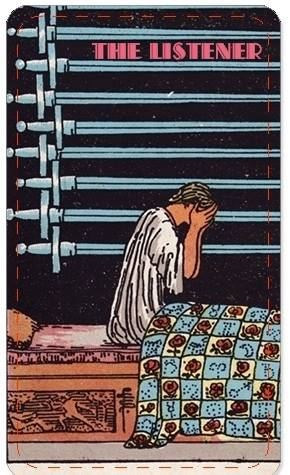 A tarot card titled THE LISTENER shows a person sitting up in bed against a black background with a series of swords horizontally arranged across the background.